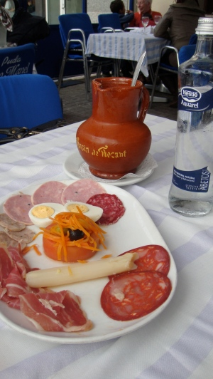 Carafe of Sangria, Hams, Sausages and Cheese, Barcelona