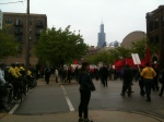 Marchers, police, Sears Tower