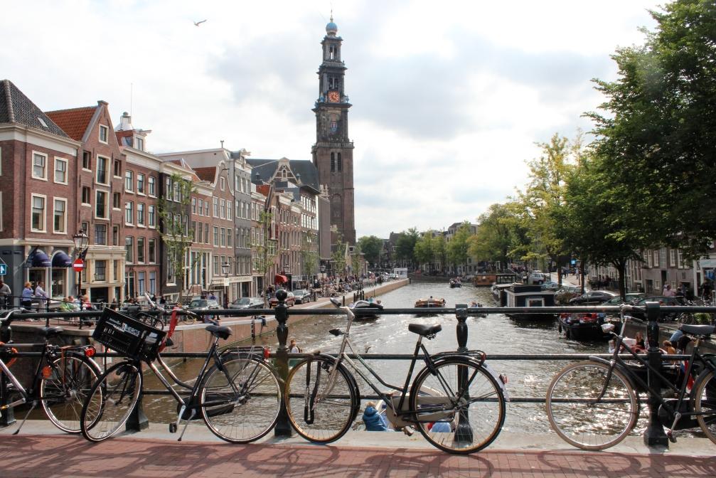 Prinsengracht canal, Westerkerk, Anne Frank House, Amsterdam
