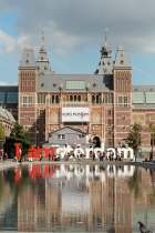 The Rijksmuseum, south facade and fountain, Amsterdam, Netherlands