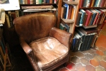 Well-worn leather chair, Shakespeare and Company