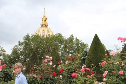 Les Invalides, The Thinker and a boy in the roses, Paris