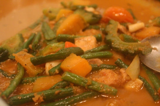 Pinakbet, traditional Ilocano vegetable and meat stir fry, KaLui Restaurant, Puerto Princesa, Palawan, Philippines