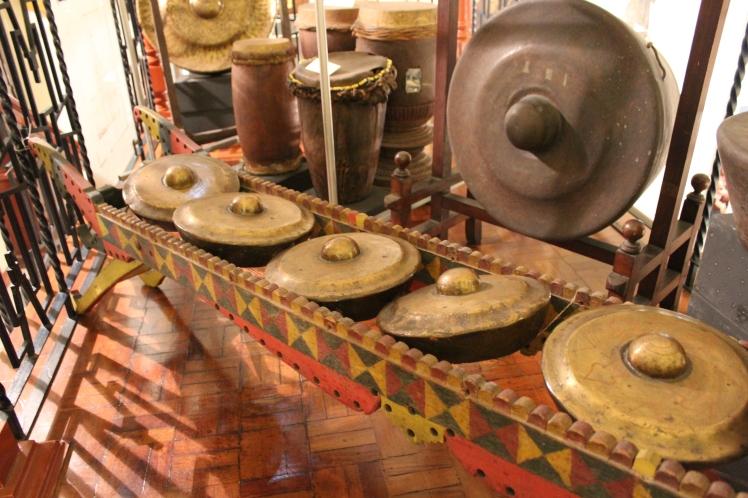 Kulintang - brass gong orchestra set, University of Santo Tomas Museum, Manila, Philippines