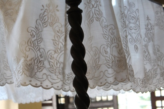 Philippine embroidery on bed canopy, Rizal Shrine, Calamba, Philippines