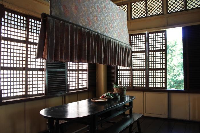 Eat-in kitchen and punkah fan, Dr. Jose Rizal's childhood home, Calamba, Laguna