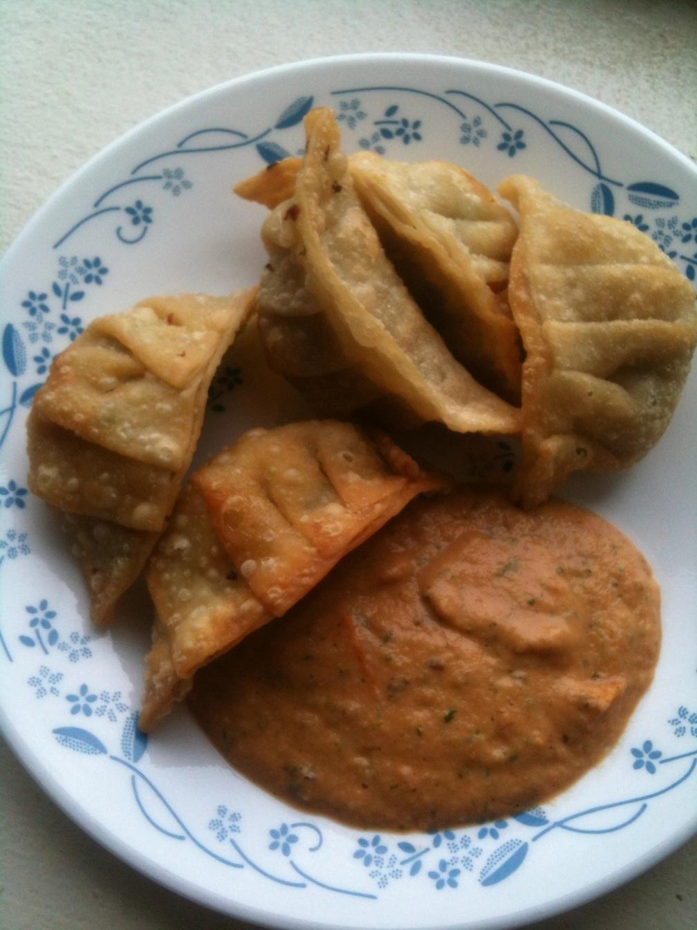 Momo, Nepali dumpling, fried with chutney