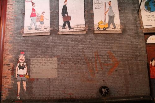 Wheat paste street art, Chicago alley