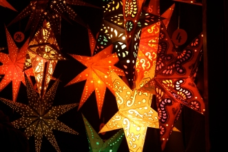 Christmas star lanterns, Chriskindlmarket, Chicago