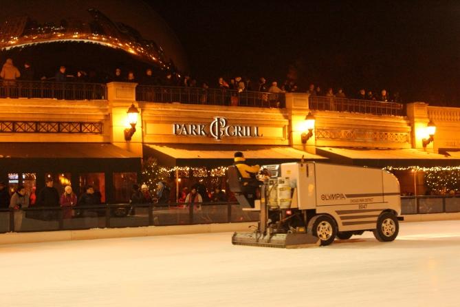 Zamboni on ice, Millennium Park, Chicago