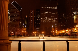 Skyscrapers, Zamboni on ice, Millennium Park, Chicago