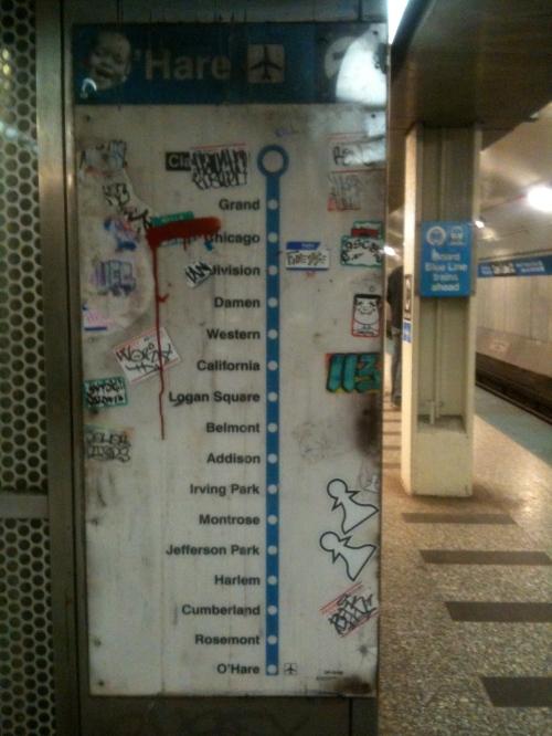 Sticker street art, Chicago Blue Line Train
