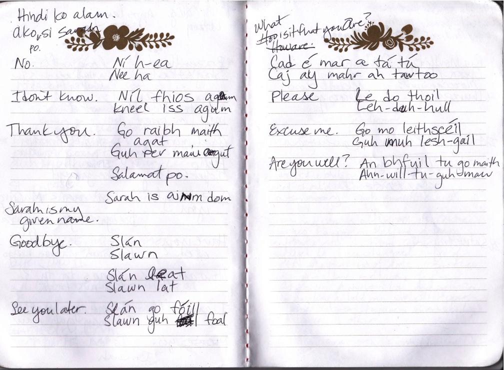 notebook gaelic