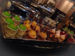 Mini cupcakes, dessert cart, Joel Robuchon. Photo by Rosemary Nickel, Motivating Other Moms.