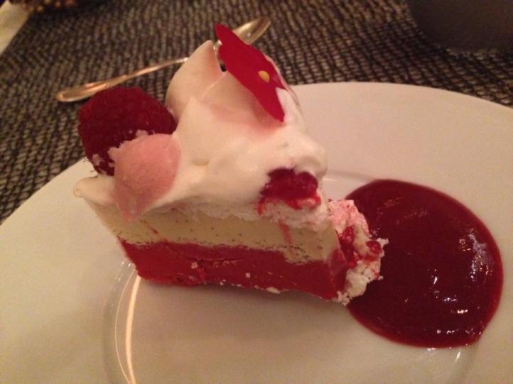 Raspberry ice cream cake, Joel Robuchon. Photo by Rosemary Nickel, Motivating Other Moms.
