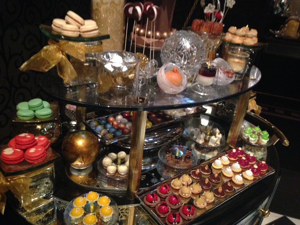 Dessert cart, Joel Robuchon. Photo by Rosemary Nickel, Motivating Other Moms.